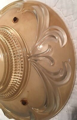 Antique semi flush glass art deco light fixture ceiling chandelier '40s Re-wired