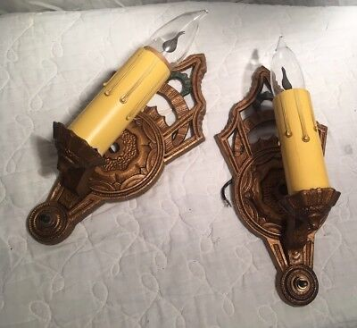 TWO VINTAGE ART DECO VICTORIAN LIGHT SCONCES CHANDELIER WALL FIXTUREs 1930's