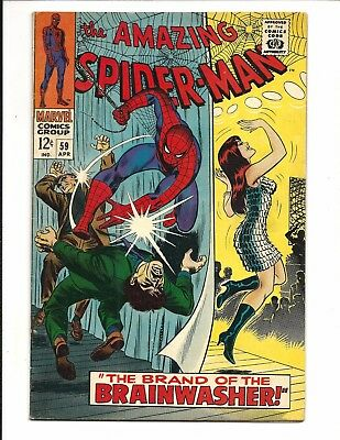 AMAZING SPIDER-MAN # 59 (1st app BRAINWASHER, MARY JANE COVER, APR 1968), VF-