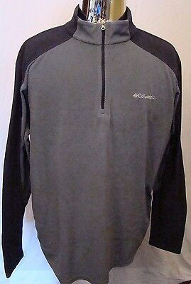 Men's Columbia Gray & Black 1/4 Zip Pullover Lightweight Fleece Jacket Size XL
