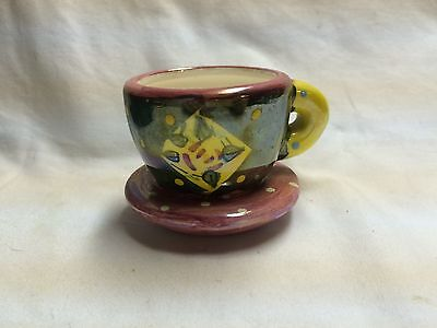 MARY ENGLEBREIT- Teacup Tealight - Black and Red