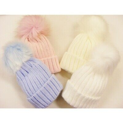 New Kinder Knitted Large Ribbed Pull On Faux Fur Pom Pom Hat 0-8 years WINTER 17