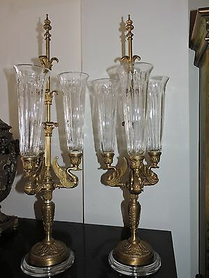 Large Pair of Bronze & Glass Candelabras