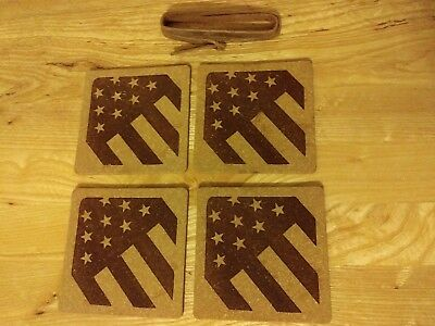 Set of 4 Rustico Leather Coasters w Strap Made in USA American Flag from RedSeal