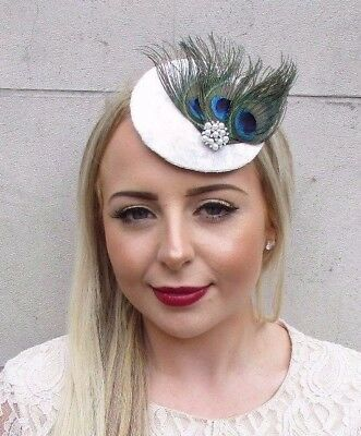Ivory Silver Green Peacock Feather Pillbox Hat Fascinator Hair Clip Races 3901