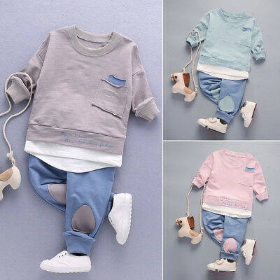 2PC Baby Boys Kids Toddler Long Sleeve T Shirt Tops+Pants Clothes Outfit Set UK
