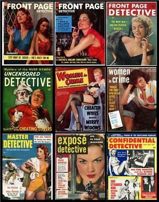 Lot of 35 True Crime Magazines on DVD, 1925-60, Pulp Detective Magazines Vintage