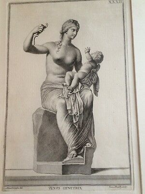 Two Antique Copper Engravings Italy Venus And Leda