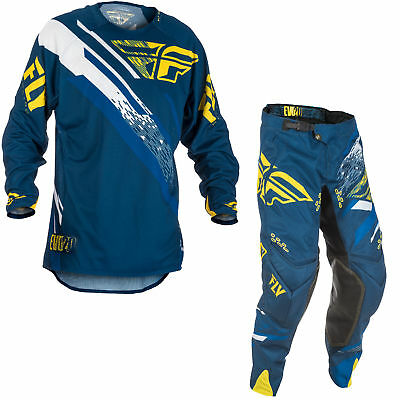 Fly Mens & Youth Navy Blue/Yellow Evolution 2.0 Dirt Bike Jersey & Pants Kit