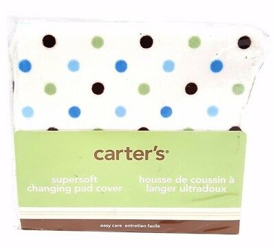 Carter's Baby Boy Changing Pad Cover White Blue Green & Brown Polka Dots