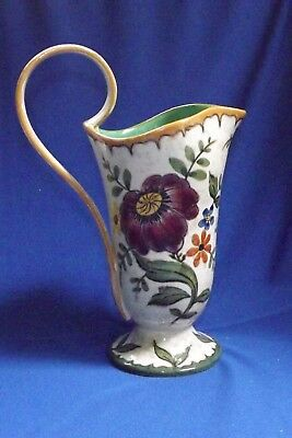 "Vintage Gouda Lg 10½"" Pitcher Hand Painted Floral BERTINO Gouda Holland No Royal"