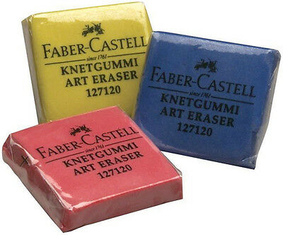 Faber-Castell Kneadable Art Eraser Putty Rubber Single Grey Blue Yellow Red