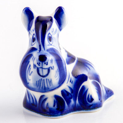 Symbol of 2018 Dog Year Gzhel Figurine Hand Painted in Russia Scotch Terrier