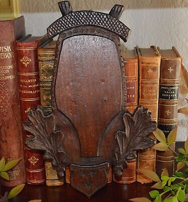 Vintage Black Forest Carved Wood Shield Plaque Deer Antler Trophy Mounting
