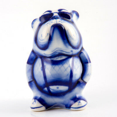 Symbol 2018 Dog Year Gzhel Figurine Hand Painted in Russia Bulldog Porcelain