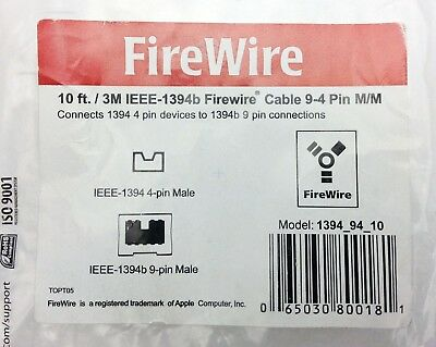 10 ft. / 3M IEEE-1394 Firewire Cable 9-4 Pin M/M (1394_94_10)