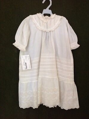 Antique white Baby Doll Dress ~ Christening Gown ~ Hande made Eyelet Lace