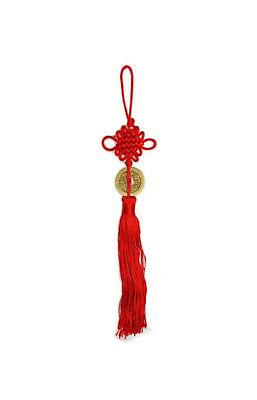 Red Lucky Chinese Wall Hanging Knot  with Tassel and Coin Lucky Charm Feng Shui