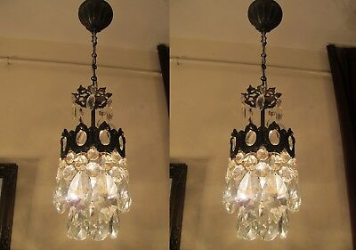 PAIR  Antique VNT.Small French Basket Style Crystal Chandelier Lamp 1940's.6 in.