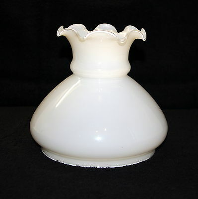 Very Large White Glass Oil Lamp Shade Picclick Uk