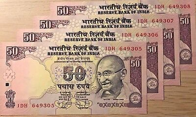 C) Indian Bank Notes 50 Rupees 4 Pcs Unc --Nd 2010 Serial Number In Sql