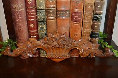 One Antique Black Forest Pediment Carved Wood Floral Basket Scrolled Leaves