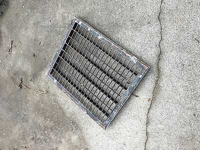 Vtg Metal Floor Grate Register Or Grill Salvaged Vent 22inch by 18 inch outside