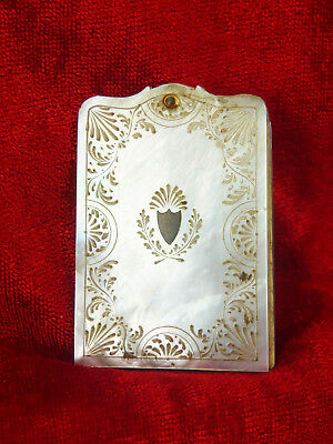 ANTIQUE PALAIS ROYAL MOTHER OF PEARL SHELL NOTE BOOK OR CARNET DE BAL c 1810-20