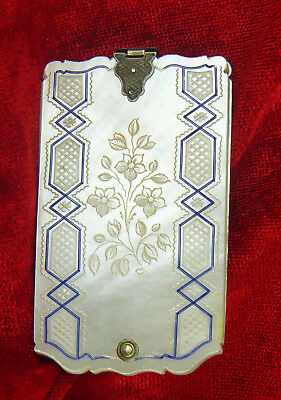 QUALITY ETCHED MOTHER OF PEARL SHELL CARNET DE BAL, INK FILLED, FRANCE c 1860
