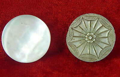 TWO VERY INTERESTING SOLID MOTHER OF PEARL BOXES FROM c 1810- c1920, BEADS PILLS