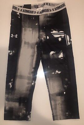 NEW Under Armour 1271020 Girls Youth Athletic Capri Leggings Pants, L 14 / 16