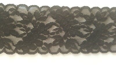 "2 yards black double  scalloped stretch lace trim 2/"" w doll S3-10"