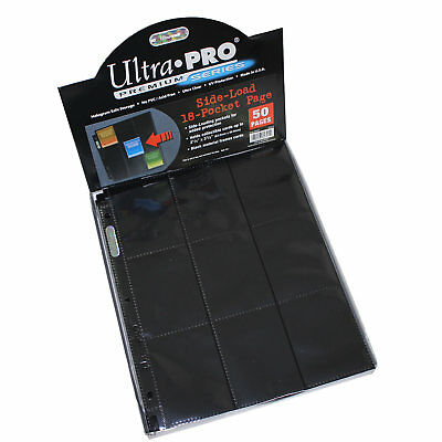 Ultra Pro 18 Pocket BLACK Trading Card Pages Side Loading Box of 50 - UP#82891