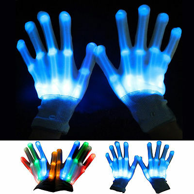 Halloween New LED Light Gloves Finger Lighting Electro Rave Party Dance Skeleton