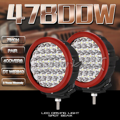 7inch RED 28800W ROUND CREE LED Work Driving Lights Spotlights Off Road 4x4 12V