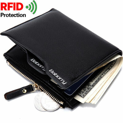 Mens Leather Wallet Purse Bifold Credit Card Coin Zipper RFID Blocking Anti Scan