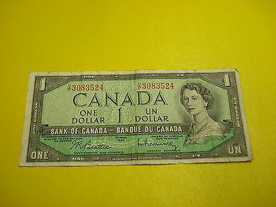 1954 - Bank of Canada $1 note - one dollar bill - VP3083524