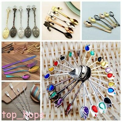 Retro Stainless Steel Coffee Spoon Flatware Flatware Tableware Kitchen Supplies