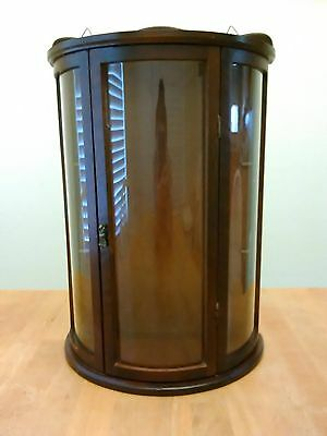 Vintage Curved Glass Curio Wood Cabinet Display Case Tabletop Wall Brass Handle