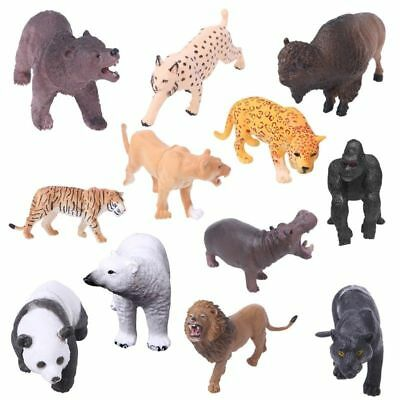 1Pcs Plastic Zoo Animal Figure Model Tiger Leopard Hippo Giraffe Kids Toy