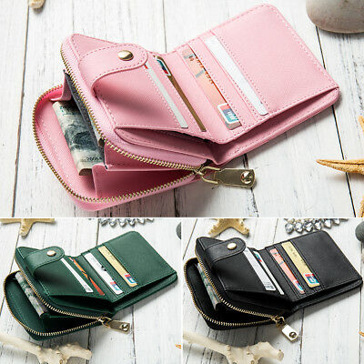 Women PU Leather Ladies Small Clutch Purse Bags Zipper Wallet Card Holder Bag