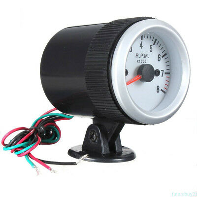 "2"" 52mm Blue LED Car Tacho Rev Counter Gauge Tachometer 0-8000 RPM Silver Face"