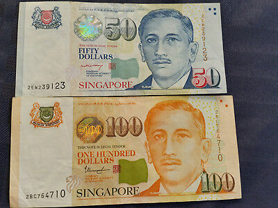 Singapore $100 and $50 in VF condition