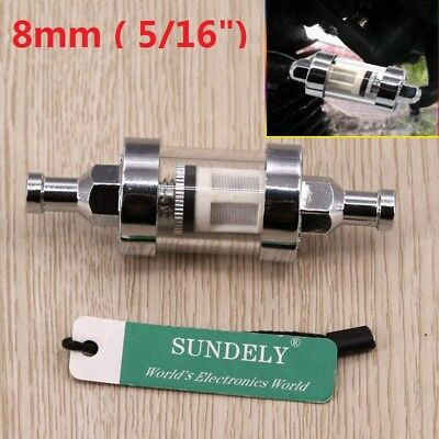 Universal Motorcycle Inline Petrol Fuel Filter Chrome Glass 8mm/ 5/16in WASHABLE
