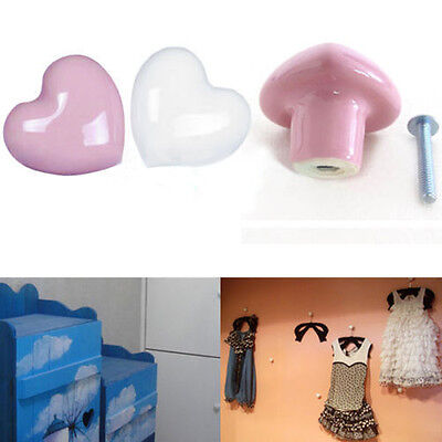 Heart Ceramic Door Knobs Cabinet Drawer Cupboard Locker Furniture Handle Hanger