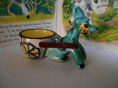 Vintage sitting donkey and cart ornament
