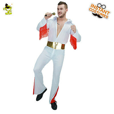 Men/'s Elvis Presley Gold Rock Roll Fancy Dress Stag Party Costume 50s M//L