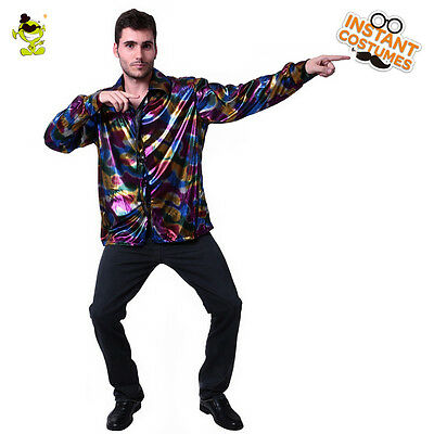 mens disco shirt shiny long sleeve adult costume accessories 60s70s fancy dress