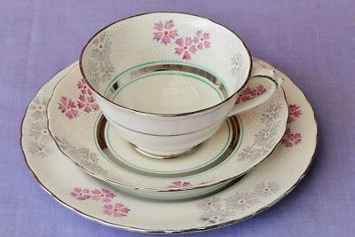 Vintage Tuscan Trio, Silver Trim, Pristine condition tea cup saucer and plate