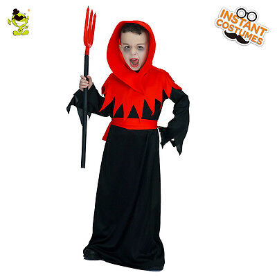 Kids Skeleton Ghost Costume Halloween Masquerade Party Boys Demon Role play Set